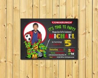 Ninja Turtles Invitation, TMNT Invitation, Teenage Mutant Ninja Turtles Invitations, Ninja Turtle Party, Turtles Invitation, with photo