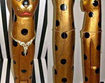 Vintage gold polka dot cat statue