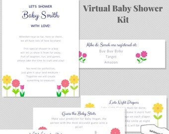 virtual baby shower kit with games and well wishes materials flowers