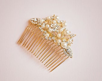 Bridal hair comb, Bridal Headpiece, Vintage hair comb, Gold hair comb, Gold Hair vine, Gold headpiece, Rose gold hair comb, Pearl hair comb