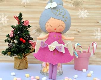 Christmas angel felt baby doll Collectible plush toy Christmas decoration New Year gift Christmas gift Baby nursery decor 100% eco wool felt