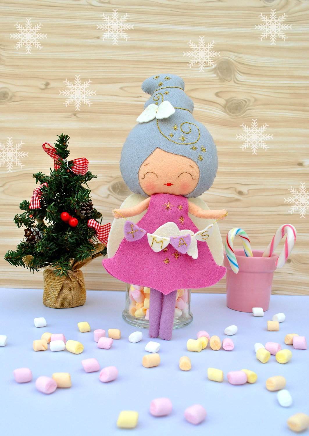 Baby loss ornaments - Christmas Angel Felt Baby Doll Collectible Plush Toy Christmas Decoration New Year Gift Christmas Gift Baby