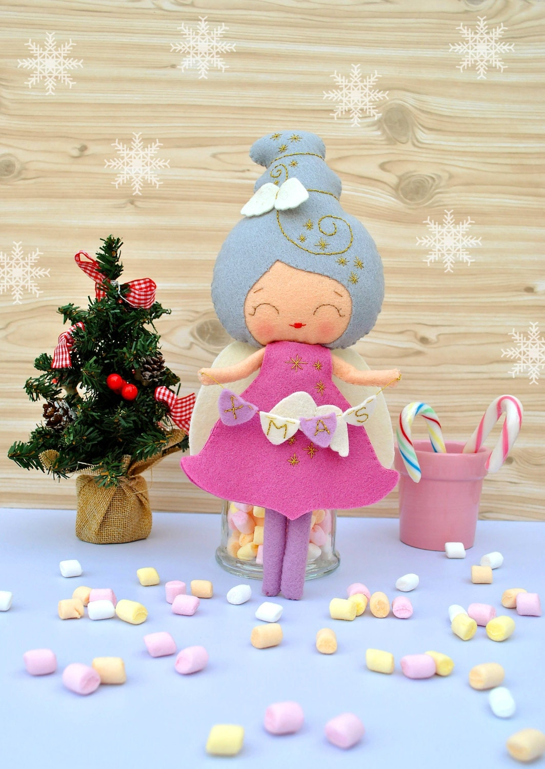 New baby christmas ornament - Christmas Angel Felt Baby Doll Collectible Plush Toy Christmas Decoration New Year Gift Christmas Gift Baby