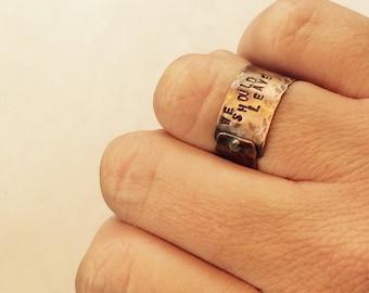 We should leave ring,we should leave,hammered copper ring,copper riveted ring,riveted ring,copper stamped ring,stamped ring,message ring