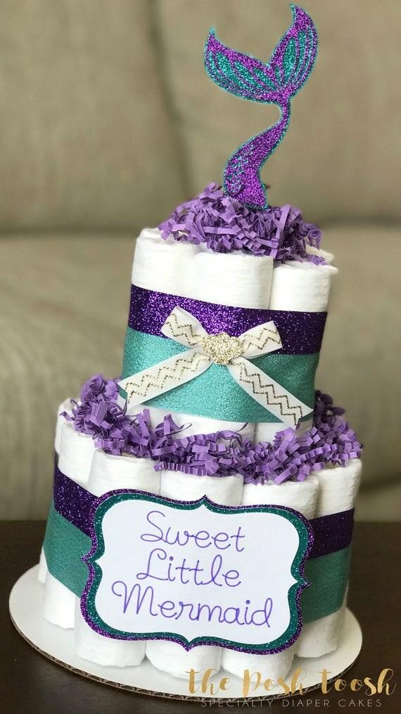Little Mermaid Diaper Cake Baby Shower Centerpiece Decor