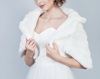 Winter bridal jacket Bridal faux mink fur jacket, Wedding fur shrug, Faux fur cape, Bridal caplet