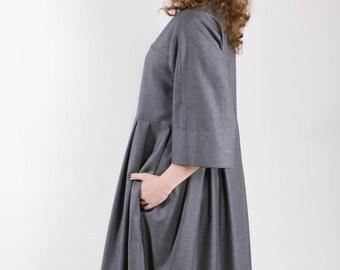 Oversized Boho Dress / Maxi Dress / Long Dress / Loose Fit Dress / Minimalist Dress / Long Gray dress