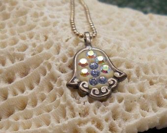 Hamsa Necklace, Silver Hamsa Necklace, Small Hamsa Necklace, Hand Necklace, Hand of Fatima, Swarovski Hamsa, Evil Eye Necklace, Charm Hamsa