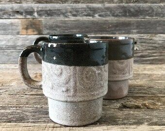 Vintage Japanese Stoneware Stacking Mugs, Japanese Stoneware