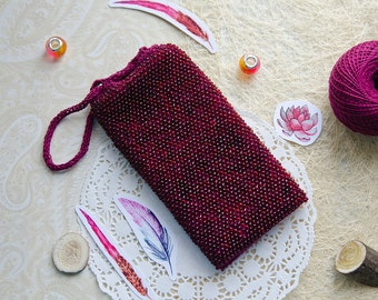 Beaded marsala phone pouch Ready to ship Crochet burgundy iphone case Romantic gift Sparkling phone bag Unisex gift Samsung phone cover