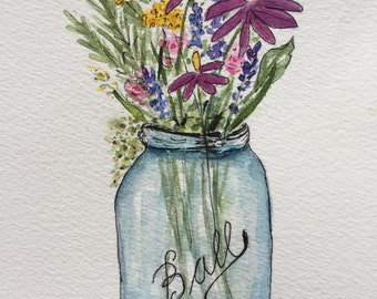 An Original Pen and Ink and Watercolor, Ball Jar Floral