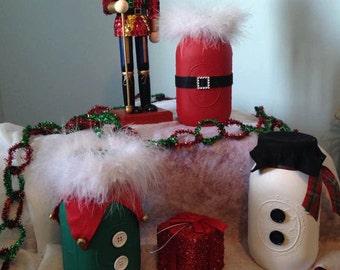 Snowman, Santa and Elf Mason Jar Set