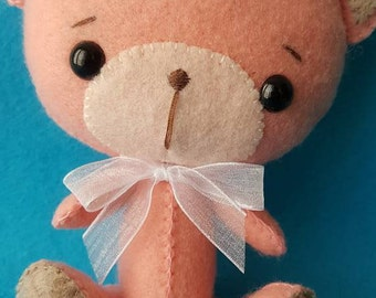 Felt Teddy bear pink and taupe