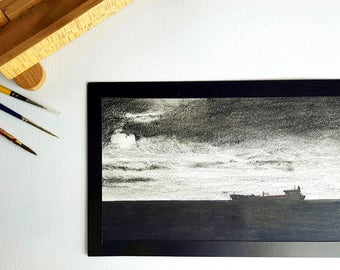 Small Landscape Drawing Original Art work - Alone In The Ocean - 20.5 x 12cm - Ink & Charcoal