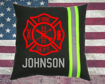 Firefighter BLACK Pillow - Maltese Cross and Name