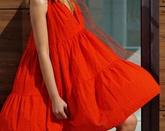 Red Summer dress, Maxi Cotton dress, Over size dress, Boho dress, Beach dress, Plus size dress, Sundress, Casual dress, Sleeveless dress
