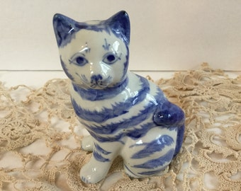 Blue and White Ceramic hand painted sitting Tiger Cat Figurine