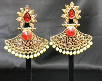 Indian Earrings - Pakistani Jewelry - Temple Jewelry - Indian Bridal - Indian Wedding - Pakistani Bridal - Bollywood - Antique Gold and Red