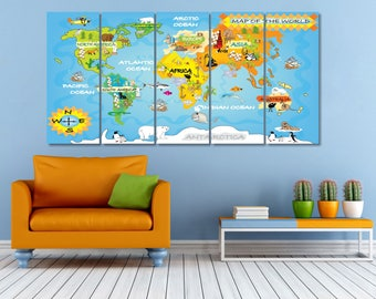 World Map Kids Room, Kids World Map Canvas Print, Geometric World Map, Large World Map Artwork, Kids World Maps Wall Art, Worldmap Poster