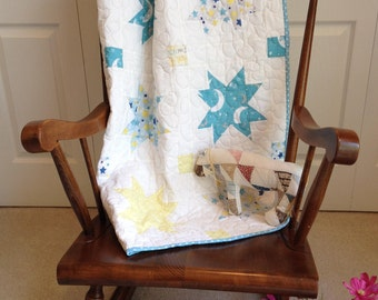 Baby Quilt, Baby Crib Quilt, Baby Throw Quilt, Gender Neutral Baby Quilt, Blue, Yellow, White Baby Quilt, Baby Boy Quilt, Baby Girl Quilt