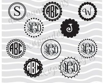 Circle Monogram Frames, svg, dots, initials frames, dxf, digital download, instant download, cut file, silhouette, cricut, letter frames