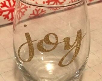 Joy, Merry, Peace, Noel Wine Glasses