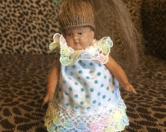 "4"" Celluloid German Doll House Doll Human Hair Wig Molded Shoes"