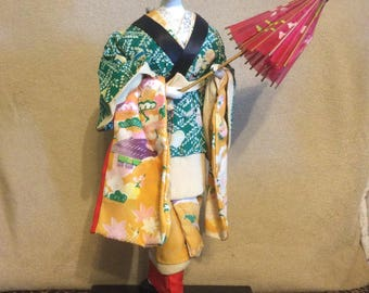 "Japanese Komori Babysitter Doll  16"" Tall Silk Kimono"
