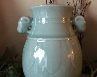 Celadon Vase Rams Head Handles