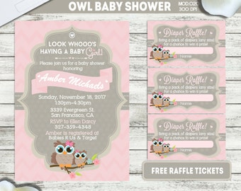 PRINTABLE    Little Owl   Baby shower invitation   FREE raffle tickets   Any occasion, any wording!!