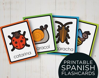 Spanish Insects Flash Cards for Kids / Print, Cut and Learn Spanish Flashcards / Spanish Educational Cards/ Printable cards for kids