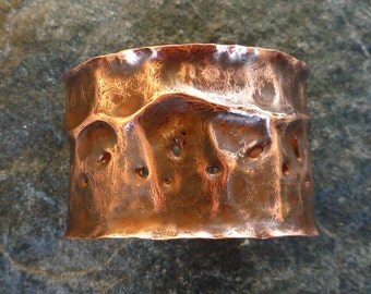 Wide cuff bracelet, Copper cuff bracelet, Hammered copper, Artisan jewelry, Copper jewelry, OOAK, Rustic cuff bracelet, Gotic bracelet