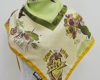 FREE SHIPPING!!! DKNY Vintage Dkny Donna Karan New York Spring Shopping Dogs Motif Theme 100% Silk Scarf