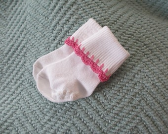 Baby girl socks - white with pink crochet trim- 0-6 months
