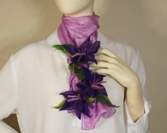 FFS007 - Silk Scarf with Three Felt Flowers