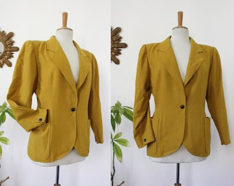 "Jacket, blazer, Emanuel UNGARO, Paris, ""solo donna"", made in Italy, yellow mustard, curved, vintage, 100% wool, wool, en 40/42, M"