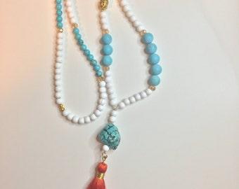 Turquoise & Orange Buddha Tassel Necklace
