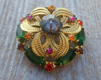 Rhinestone and Gold Tone Dome Brooch