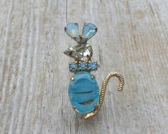 Blue Rhinestone Mouse Brooch