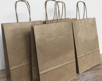 Brown Paper Kraft Italian Small Gift Bags 18x25x8cm Wedding Hen Birthday Parties