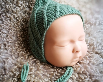 Newborn Knit Pixie Bonnet . Newborn Photo Prop.  Sage Hat.  Knit Baby Hat.  Knitted bonnet