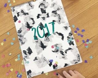 Mensual illustrated calendar 2017