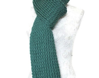 Unique Handmade Scarf // Long Knitted Scarf // Super Chunky Knitted Scarf // Green Chunky Knit Scarf // Long Warm Womens Scarf