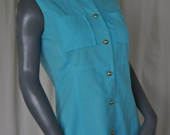 Vintage Turquoise Button Down Shift Dress by Lois Young Size S