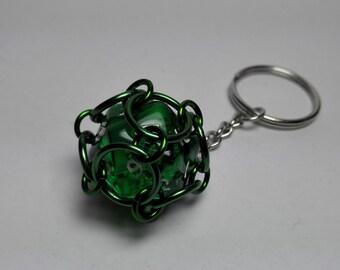 Keyring Pendant Green Dice