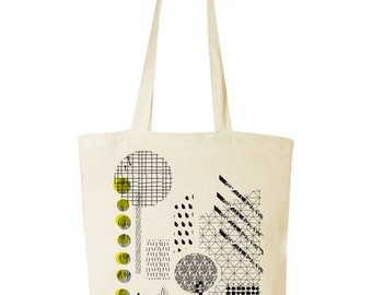 pattern blocking screen print canvas bag