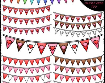 Valentine's Day Bunting Banners Clip Art and B&W Set