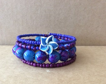 Blue and Purple Beaded Memory Wire Bracelet