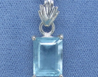 11.5 x 8.5mm Genuine Aquamarine Necklace Sterling Silver - Unheated - Emerald Cut -  AQ212058 - Free Shipping to the USA