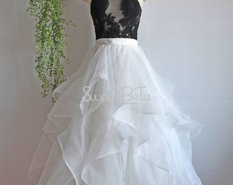 ivory bridal organza skirt, ball grown prom skirt, formal party organza skirt